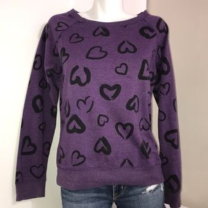 Instant Vintage Purple Black Heart Print Sweater